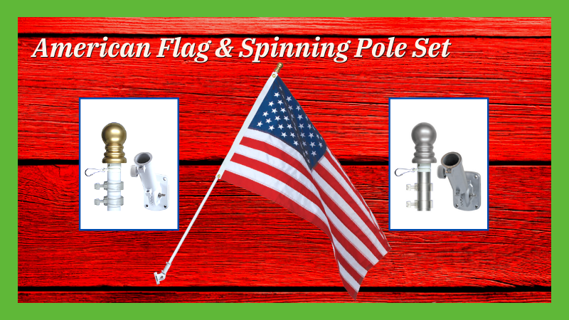 American Flag & Spinning Pole Set