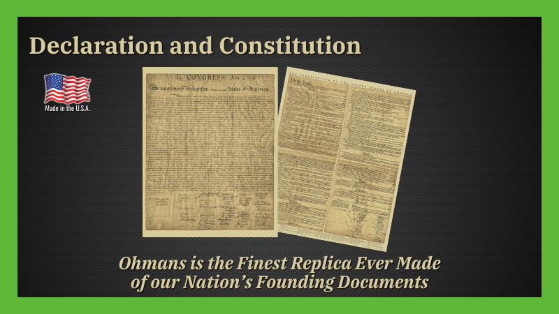 OHMAN DECLARATION OF INDEPENDENCE AND US CONSTITUTION SET